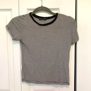 Brandy Melville black and white striped t shirt